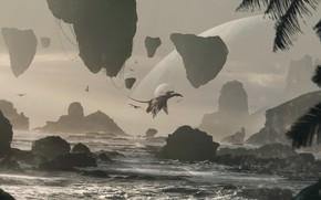 Picture sea, rocks, planet, flight, . Avatar Fan art, Pandora Beach