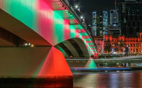 Picture Bridge, Night, The city, River, Brisbane, City Pasig