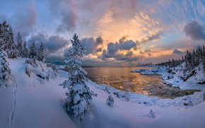Picture forest, Lake Ladoga, lake, ate, Russia, Karelia, winter, snow, the snow