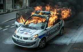 Picture fire, flame, street, car, police