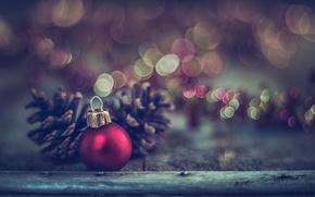Wallpaper macro, decoration, toy, Board, new year, ball, bokeh