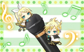 Picture children, notes, kids, two, Vocaloid, Vocaloid, Kagamine Len, Kagamine Rin