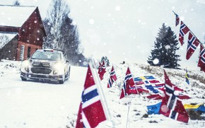 Picture Ford, Winter, Auto, Snow, Sport, Machine, Ford, Race, Norway, Flags, Lights, Car, WRC, Rally, Rally, …