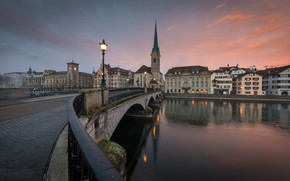 Picture bridge, the city, river, Zurich