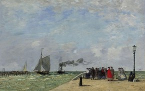 Wallpaper picture, ship, Eugene Boudin, people, Eugene Boudin, sea, Pier in Le Havre, sail