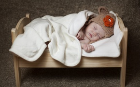 Picture sleep, baby, blanket, child, cap, baby, cot