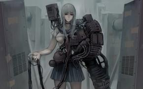 Picture girl, gun, fantasy, mecha, weapon, oppai, seifuku, japonese