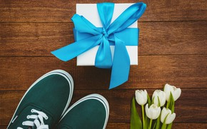 Picture flowers, gift, sneakers, bouquet, tape, tulips, white, white, wood, flowers, tulips, gift, sneakers