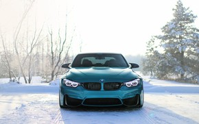 Picture BMW, Blue, Winter, Snow, Face, F80