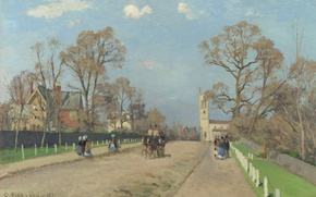 Picture house, street, picture, pastoral, Camille Pissarro, Avenue. Sydenham