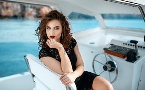 Picture girl, long hair, dress, photo, photographer, blue eyes, model, tattoo, bokeh, lips, face, brunette, yacht, ...