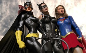 Picture women, the sky, clouds, costumes, catwoman with other heroes