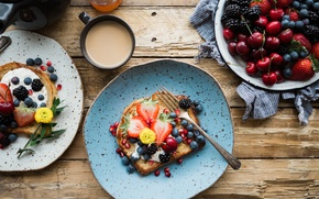 Picture berries, coffee, Breakfast, blueberries, strawberry, fruit, cherry, BlackBerry, toast, sandwiches, Bread
