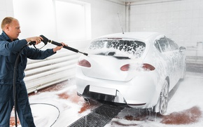 Picture dirt, foam, cleaning, Car wash, employee, pressure water