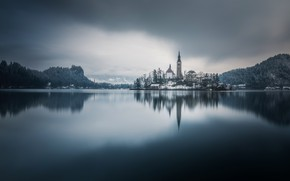 Picture lake, reflection, island, monochrome, Slovenia, Lake Bled, Slovenia, Lake bled, Bled, Assumption of Mary Pilgrimage …