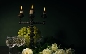 Picture roses, candles, grapes, romantic still life