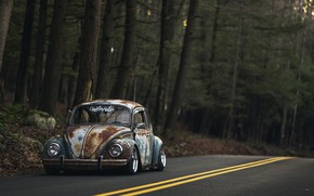 Picture Volkswagen, Old, Beetle, Road, Forest, Rusty