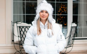 Picture hat, portrait, jacket, blonde, beautiful, in white, jacket