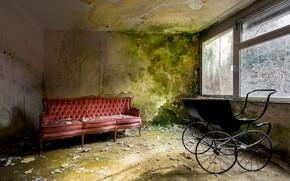 Picture room, sofa, window, stroller