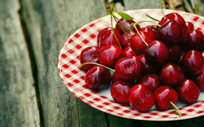 Picture nature, cherry, berries, table, Board, Shine, food, Breakfast, harvest, plate, red, cherry, saucer, ripe, delicious, …