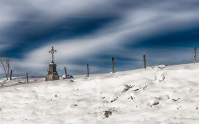 Picture winter, the sky, grave