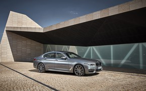 Picture the sky, grey, wall, the building, shadow, pavers, BMW, Parking, sedan, 540i, 5, M Sport, …