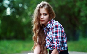 Picture look, girl, sweetheart, hair, shirt, beautiful, Rus