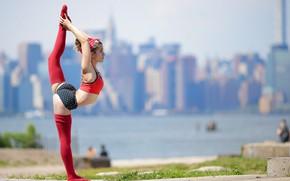 Wallpaper bokeh, Leah O, girl, stretching, stand