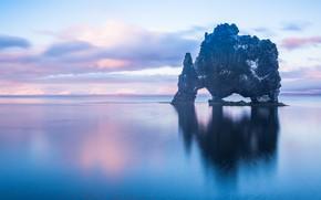 Picture sea, the sky, clouds, rock, reflection, the ocean, Iceland, Iceland, Hvítserkur, Hvitserkur