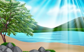 Picture mountains, nature, river, rendering