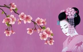 Wallpaper spring, Sakura, girl, tradition, kimono, art, Japanese, kanzashi