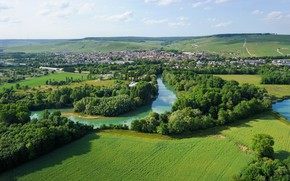 Picture the city, river, France, field, Champagne, the champagne region