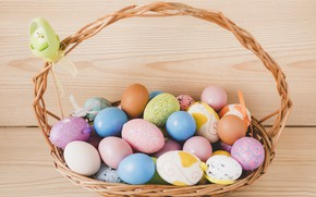 Picture basket, eggs, spring, Easter, Holiday