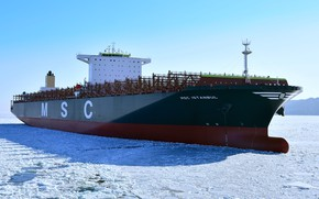 Wallpaper ice, winter, a container ship
