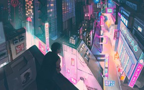 Picture night, the city, guy, neon waveski, by LuviiiLove