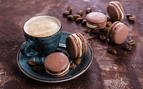 Wallpaper coffee cup, macaroon, cookies, cream, sweet, macaron, french, almond, coffee, cookies, dessert, cakes