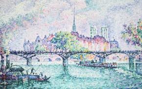 Picture picture, the urban landscape, The Pont Des Arts, Paul Signac, pointillism