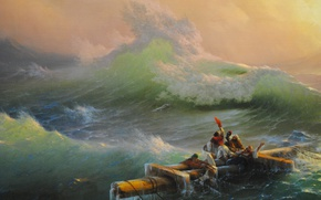 Wallpaper the wreckage, storm, people, wave, Aivazovsky, fragment, the ninth wave