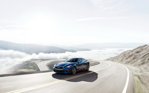 Picture Road, Blue, Infiniti, Car, Q50S, 2016-17, 3.0t