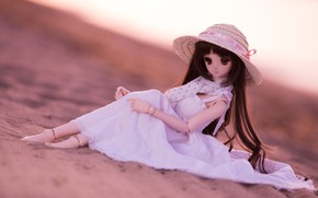 Picture girl, doll, dress, hat