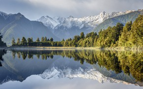 Picture trees, mountains, lake, reflection, New Zealand, New Zealand, water surface, Lake Matheson, Southern Alps, Southern …