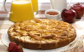 Picture apples, strawberry, juice, pie, Charlotte