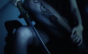 Wallpaper girl, sword, katana, stockings, legs