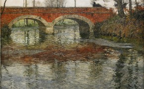 Picture bridge, river, arch, impressionism, Frits Thaulov, med stenbro, river landscape