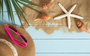Picture sand, beach, summer, stay, star, vacation, hat, glasses, shell, summer, happy, beach, sand, vacation, starfish, …