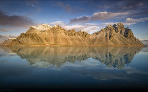 Picture the sky, clouds, reflection, Iceland, Iceland, Auster-Skaftafellssysla, Vestrahorn