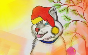 Picture figure, new year, picture, husky