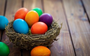 Picture Happy, spring, eggs, the painted eggs, basket, Easter, Easter, wood, colorful, decoration, spring