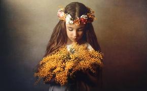 Picture flowers, portrait, girl