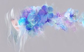 Picture girl, flowers, blue